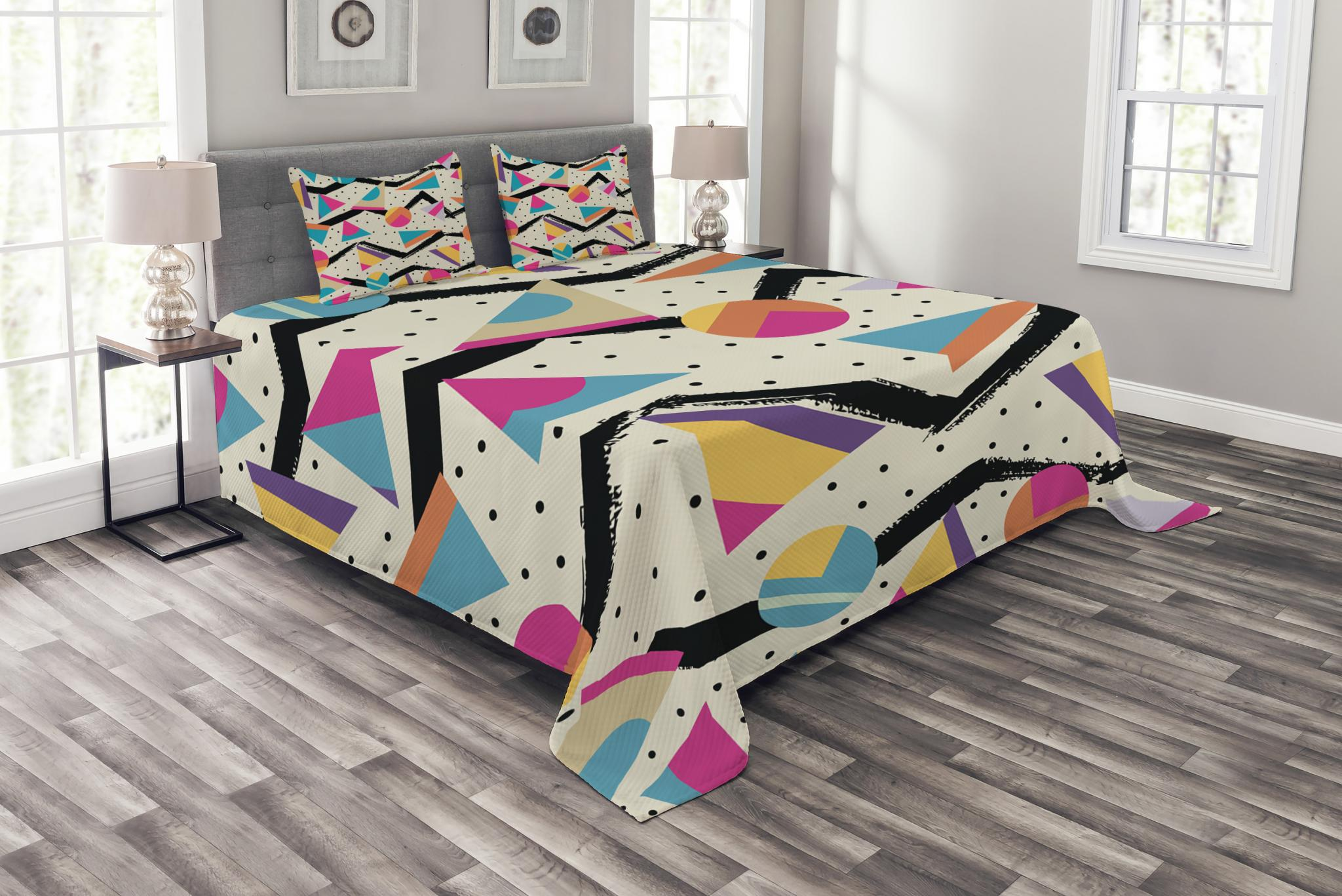 Indie Bedspread Set Eighties Memphis Fashion Style Geometric Abstract Colorful Design With Dots Funky Decorative Quilted Coverlet Set With Pillow Shams Included Multicolor By Ambesonne Walmart Com Walmart Com