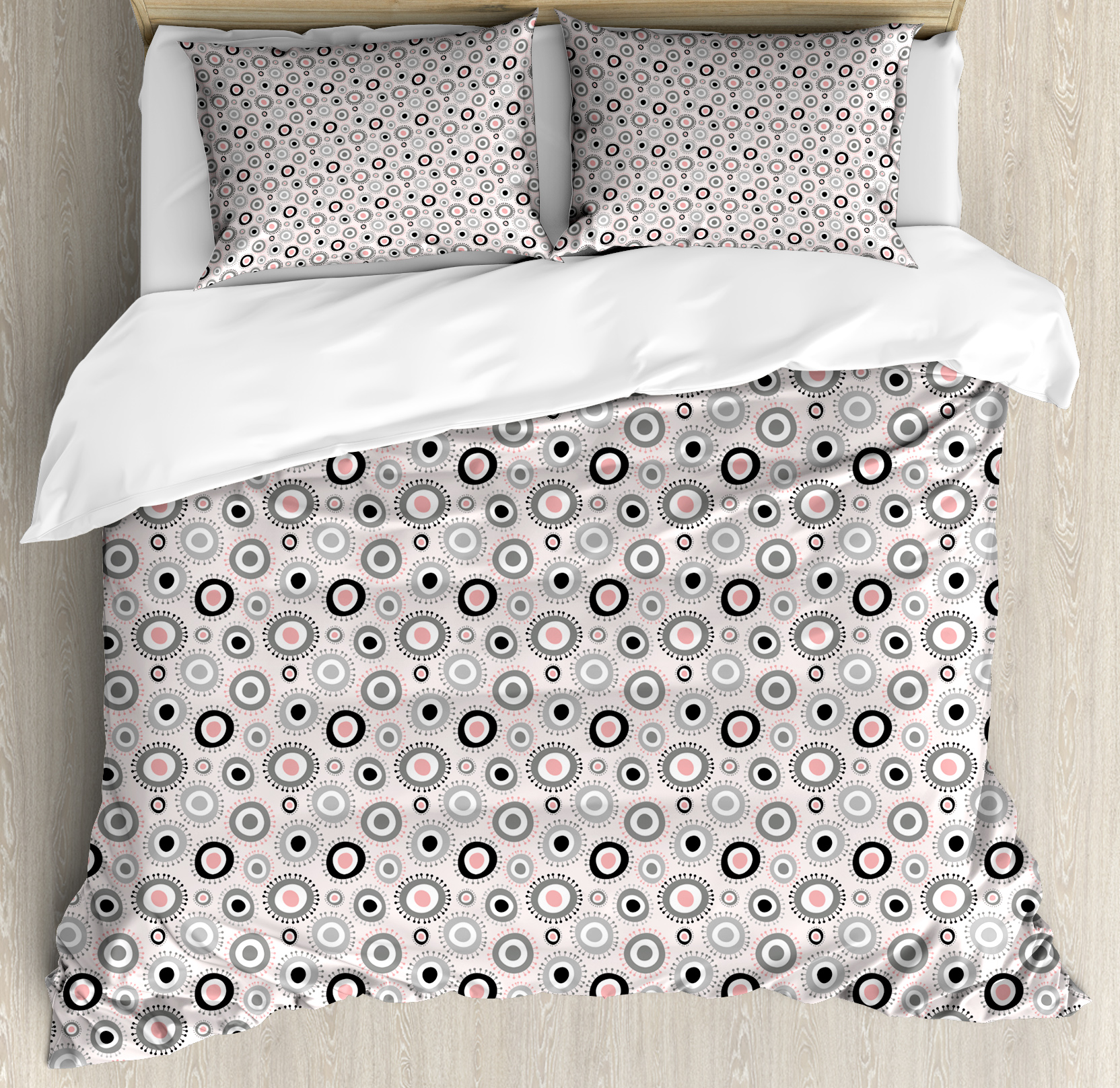 Geometric Queen Size Duvet Cover Set, Circular Doodle with Cute Kids Playroom Girls... by Kozmos