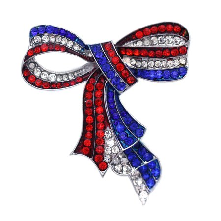 cocojewelry American Flag 4th of July Red Blue White Bow Ribbon Brooch Pin
