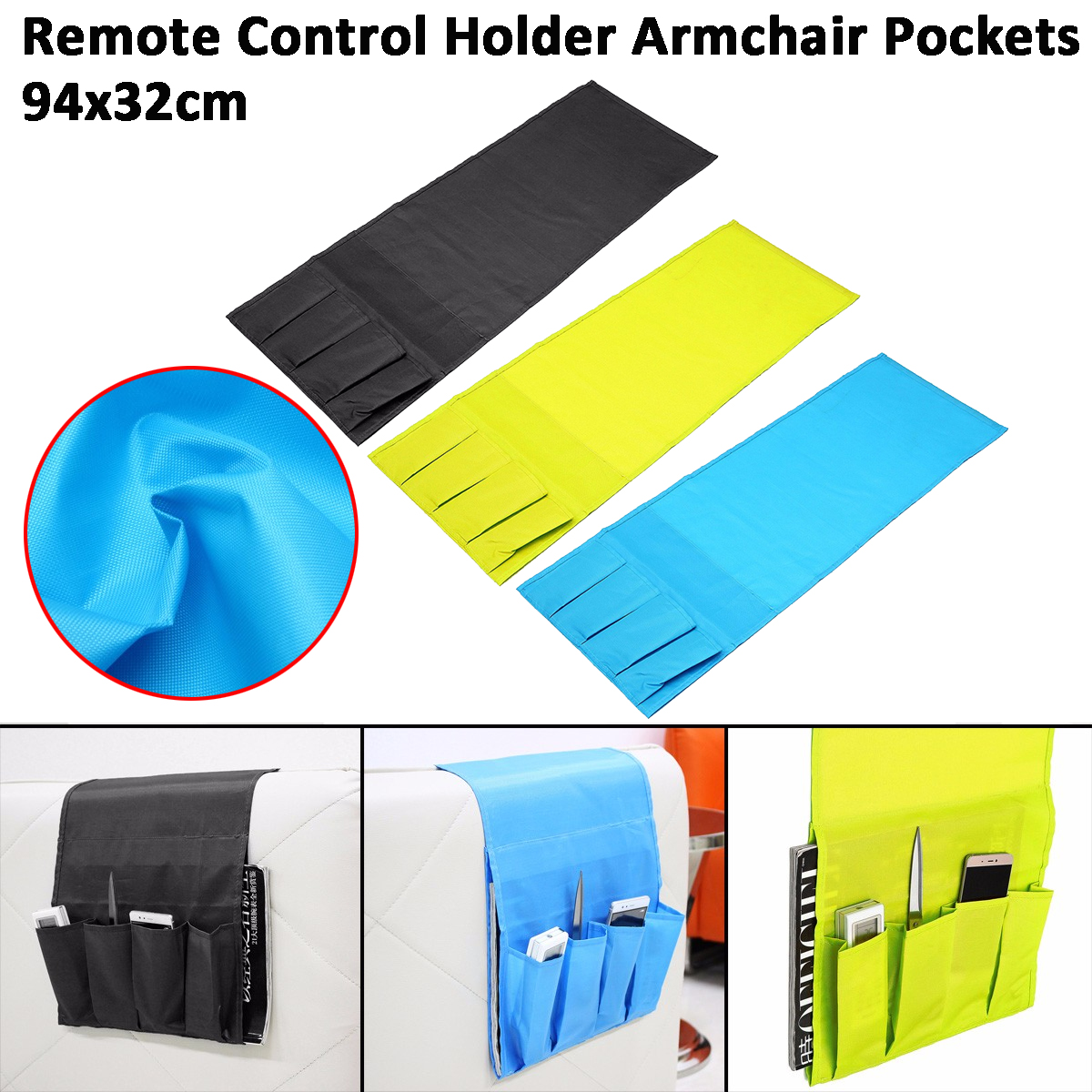 Foldable Remote Control Holder Bag Sofa Armrest Armchair Pockets Organizer Multi-function Storage Bag For Home Storage,Blue,Green,Black