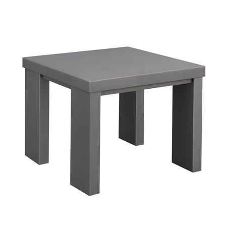 - Aluminum Framed End Table with Plank Style Top, Gray
