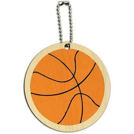 - Cartoon Basketball Round Wood ID Tag Luggage Card for Suitcase or Carry-On