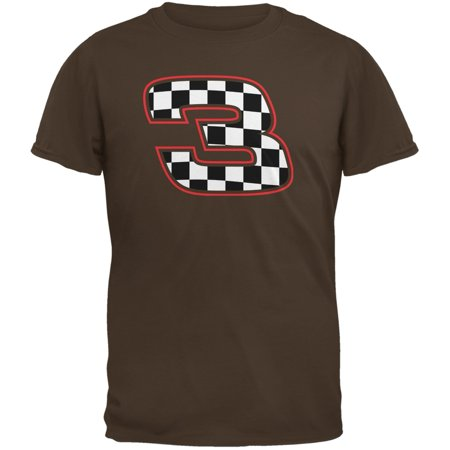 Racing Number 3 Checkered Flag Brown Adult - Checkered Racing