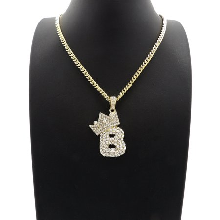 Unique Fashion 21 Hip Hop Stone Filled Crown Bubble Initial Letter B Pendant 3mm 24