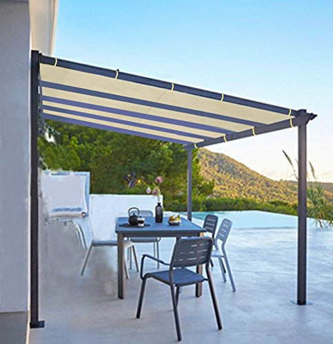 Shatex 6x10ft Wheat Outdoor Waterproof Sunscreen Shade Panel Ready To Tie  Ropes Designed For