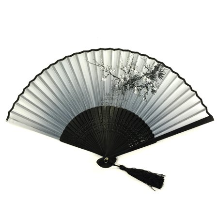 Cherry Blossom Sleeve (Wrapables® Silk Handheld Folding Fan with Tassel and Protective Sleeve, Gray Cherry Blossoms )