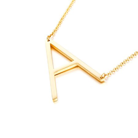 "18kt Gold Plated Sideways ""A"" Initial Charm Necklace"