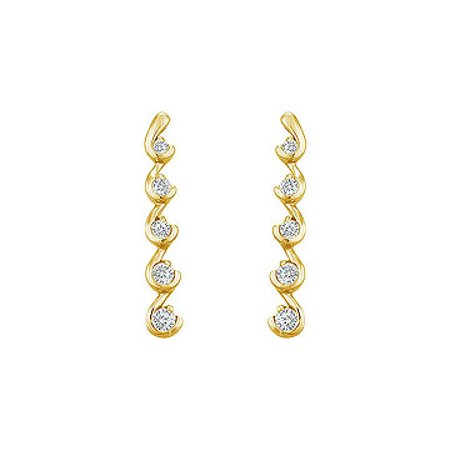 Diamond Journey Earrings 14K Yellow Gold 0.50 CT Diamonds