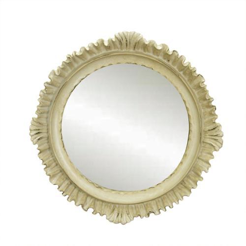 "9.25"" Vintage Rose Victorian Style Cuff Trim Distressed Cream Decorative Round Wall Mirror"