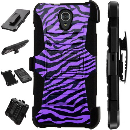 - For Alcatel idealXTRA | 1X Evolve (2018) | TCL LX Case Armor Hybrid Silicone Cover Stand LuxGuard Holster (Purple Zebra