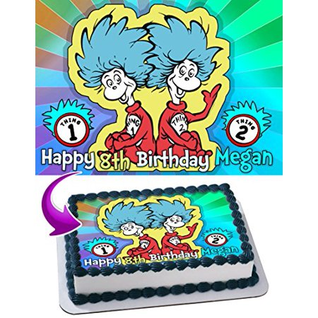 Thing One and Thing Two Dr. Seuss Edible Cake Topper Personalized Birthday 1/4 Sheet Decoration Custom Sheet Party Birthday Sugar Frosting Transfer Fondant Image Edible Image for cake (Dr Suess Cake)