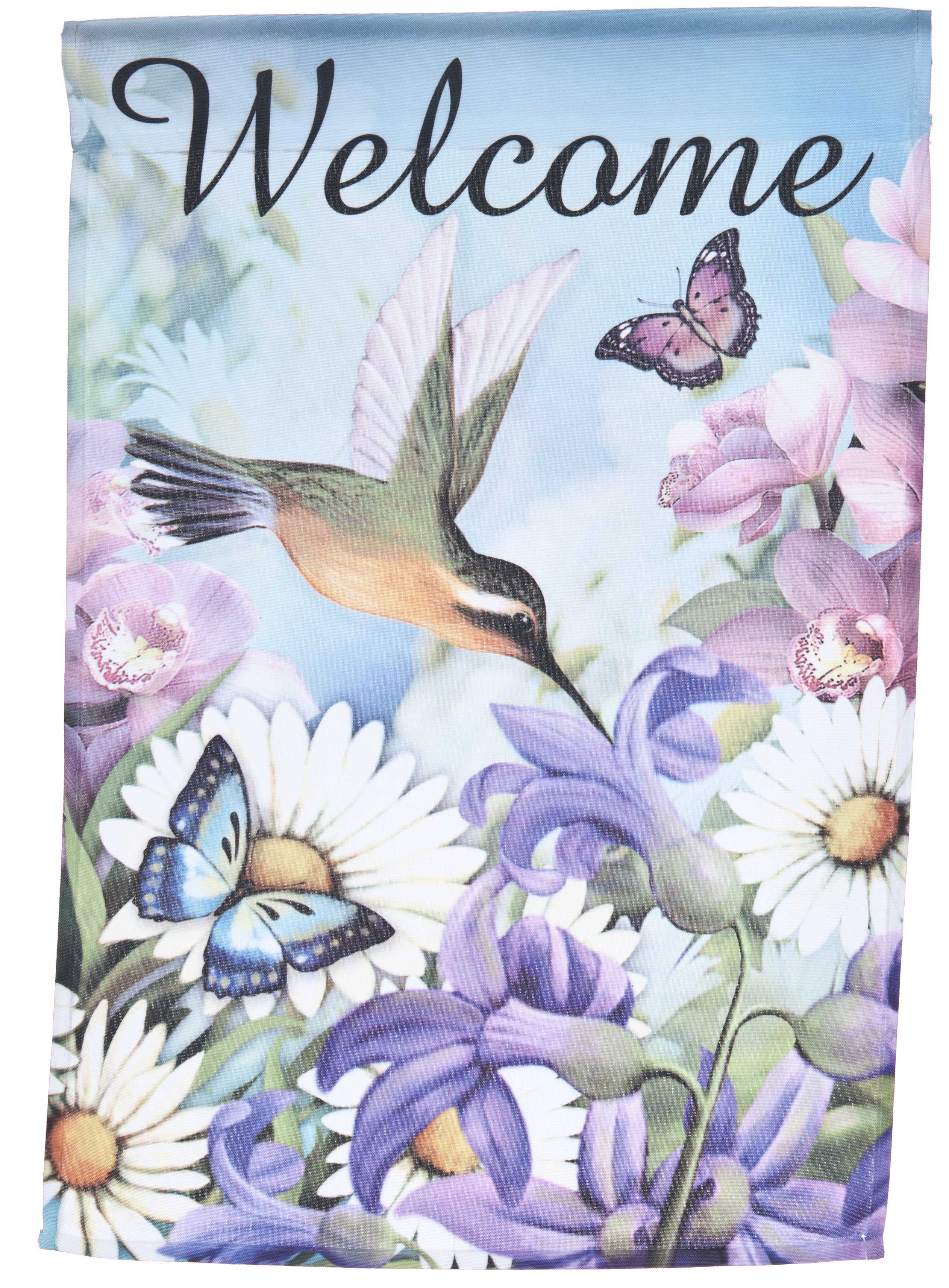 Welcome Lawn Flag w  Hummingbird & Flowers by Garden Accents (12 x 18 Inch) by