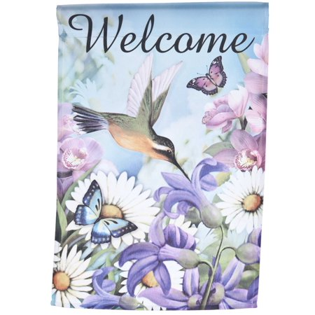 Welcome Lawn Flag w/ Hummingbird & Flowers by Garden Accents (12 x 18 Inch) ()