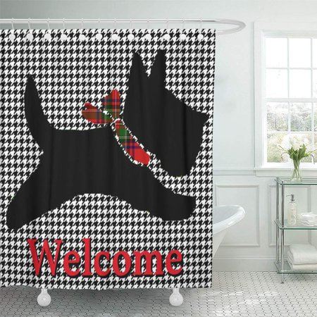 CYNLON Scottie Scottish Terrier Houndstooth Scotty Dog Bathroom Decor Bath Shower Curtain 66x72 inch