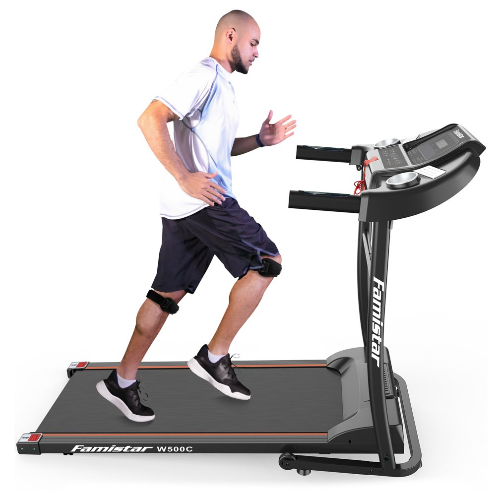 Famistar W500C Electric Folding Treadmill w/ Heart Pulse System/ Low Noise Electric Running Training Fitness Treadmill - Built-in MP3 Speaker, LED Display, 12 Preset Programs, 2 Knee Straps As Gift