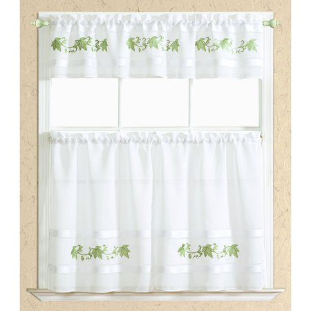 Spring Leaf Kitchen Curtain Set in Sage