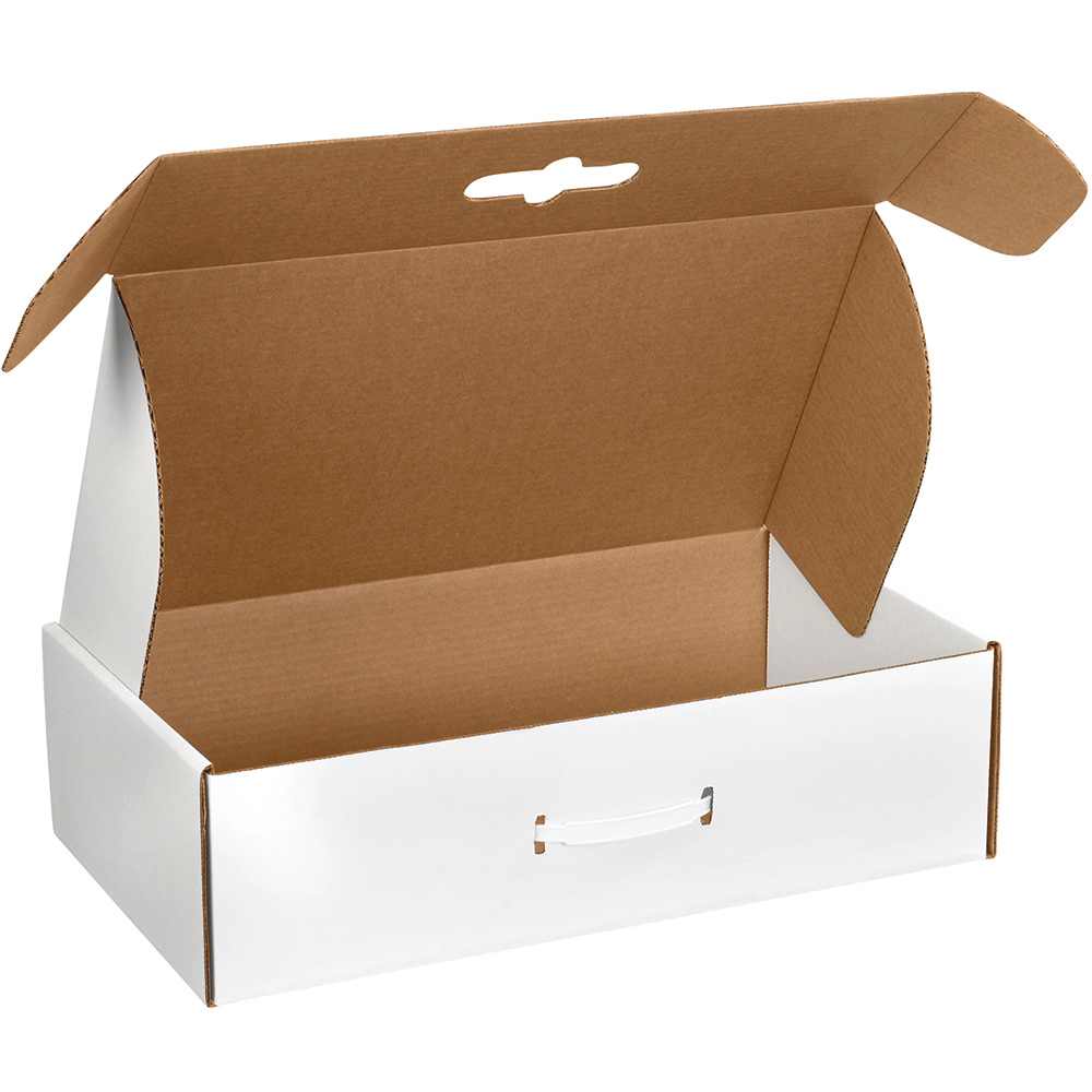 Box Partners Corrugated Carrying CSs,18.25x11 3/8x4.5,White,10/BDL - BXP MCC4
