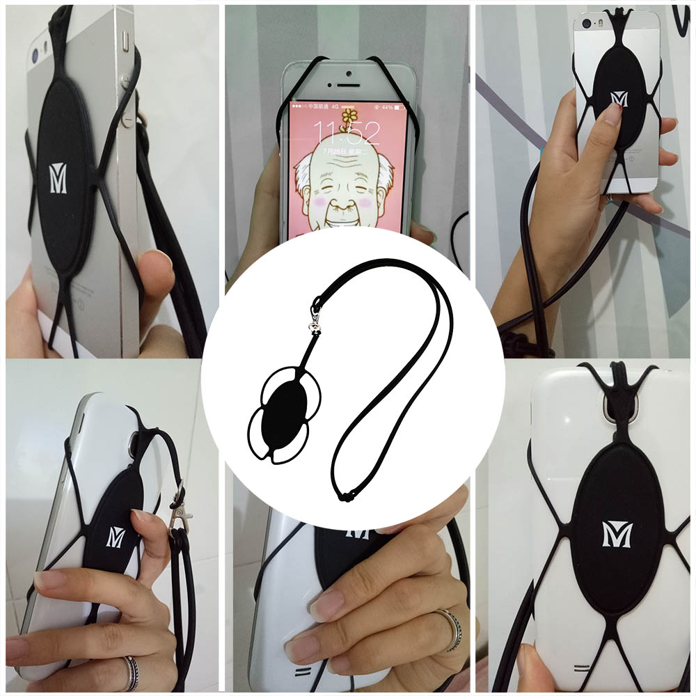 MOUTIK Mobile Phone Strap Neck Lanyard Holder Cover with Card Slot Smart Catch Easy Removable String for Smartphones