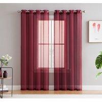 HLC.ME 2 Piece Semi Sheer Voile Window Curtain Drapes Grommet Top Panels for Bedroom, Living Room & Kids Room - Set of 2 panels