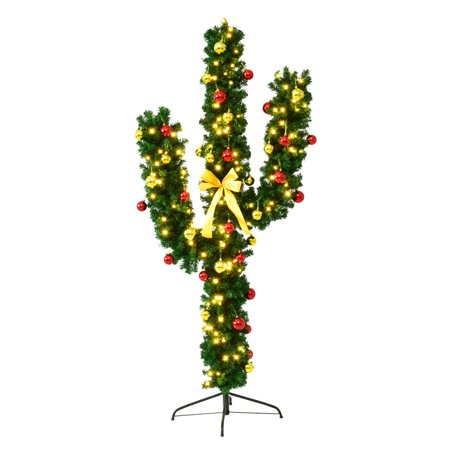 Gymax Pre-Lit LED Lights Artificial Cactus Christmas Tree Ball Ornaments - Cactus Christmas Tree