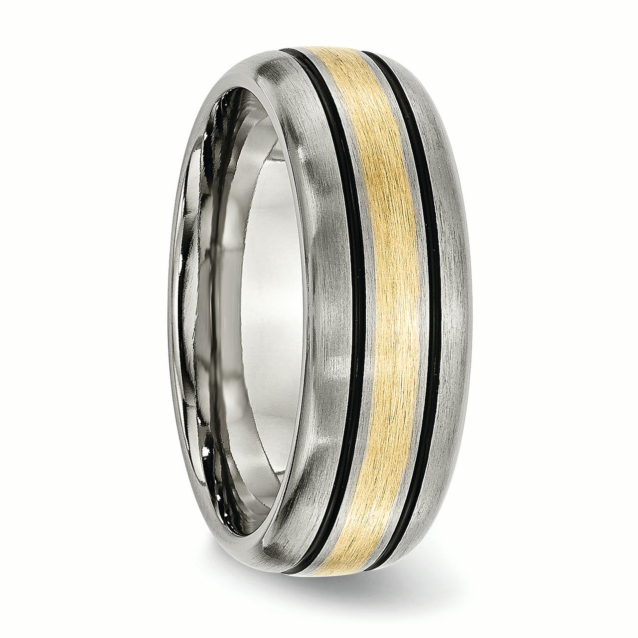 Titanium Grooved 14k Yellow Inlay 8mm Brushed and Antiqued Band