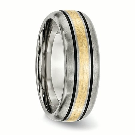 Titanium 14k Yellow Inlay 8mm Brushed Wedding Ring Band Size 9.50 Precious Engagement & Wedding
