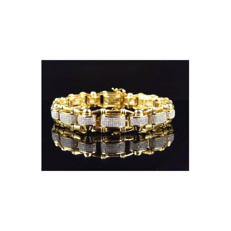 10K Yellow Gold Genuine Diamond Bamboo Link Style Bracelet 12MM (3.0Ct)