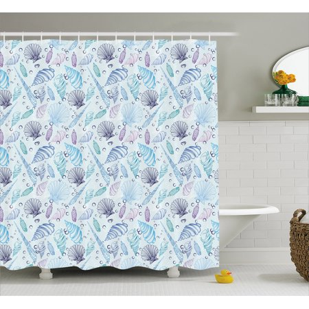 Nautical Shower Curtain Various Sea Shell Pattern Underwater Bubbles Ocean Maritime Print Fabric Bathroom