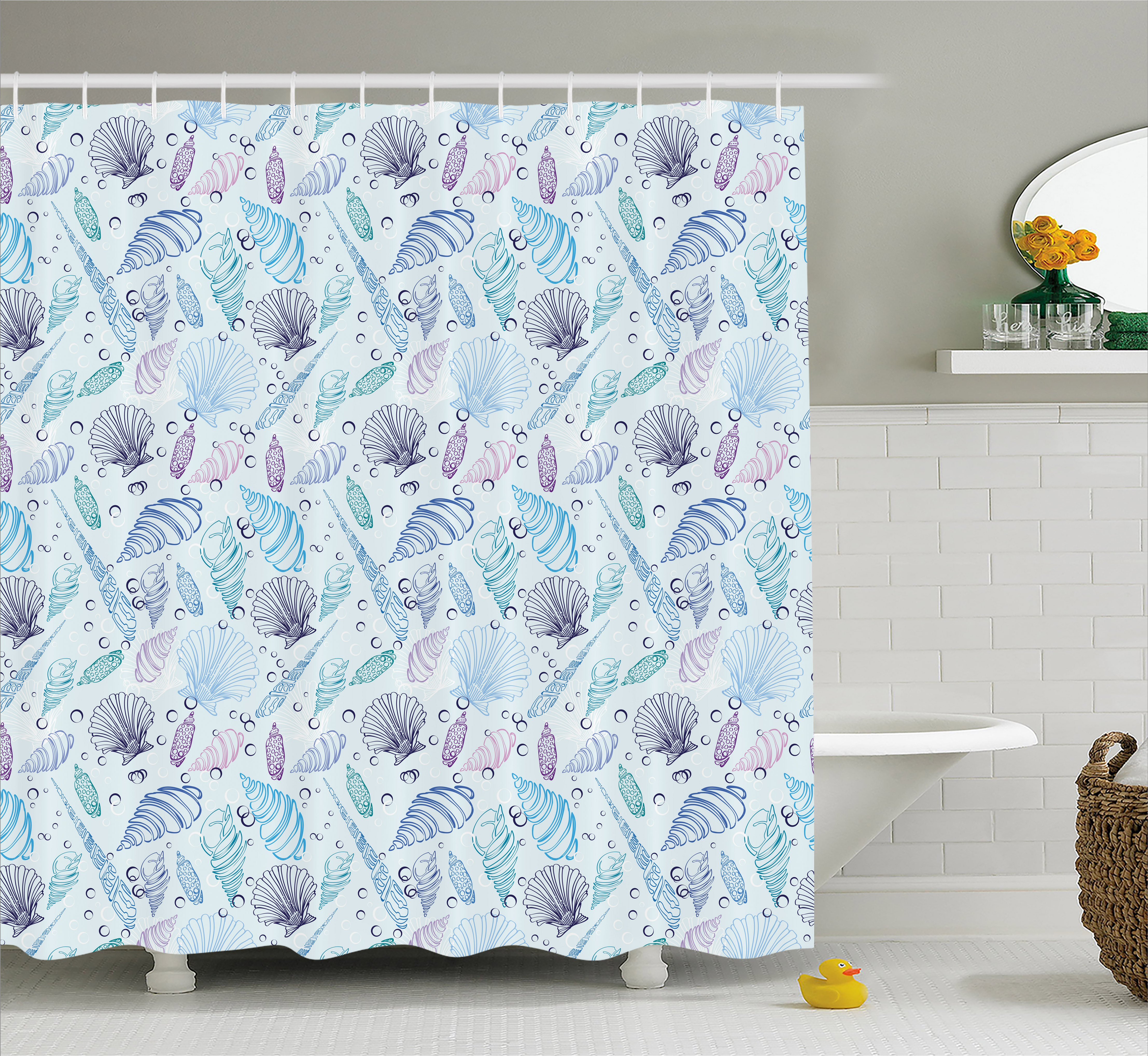 Nautical Shower Curtain, Various Sea Shell Pattern Underwater Bubbles Ocean Maritime Print, Fabric Bathroom Set with Hooks, Indigo Pale Blue Purple, by Ambesonne