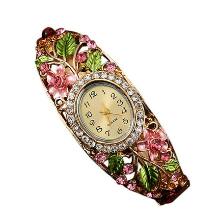 Flower Rhinestone Decor Women Watch Bracelet Quartz Round Shaped Alloy Girl Watches Wristwatch Bracelet Style Wrist Watch