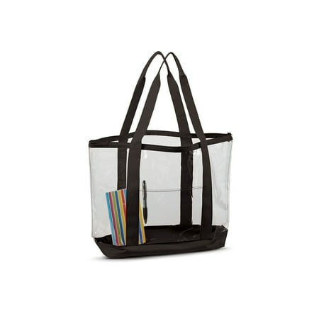 Liberty Bags Contrasting Strap Large Clear Zipper Tote Bag, Style - Brighton Style Tote