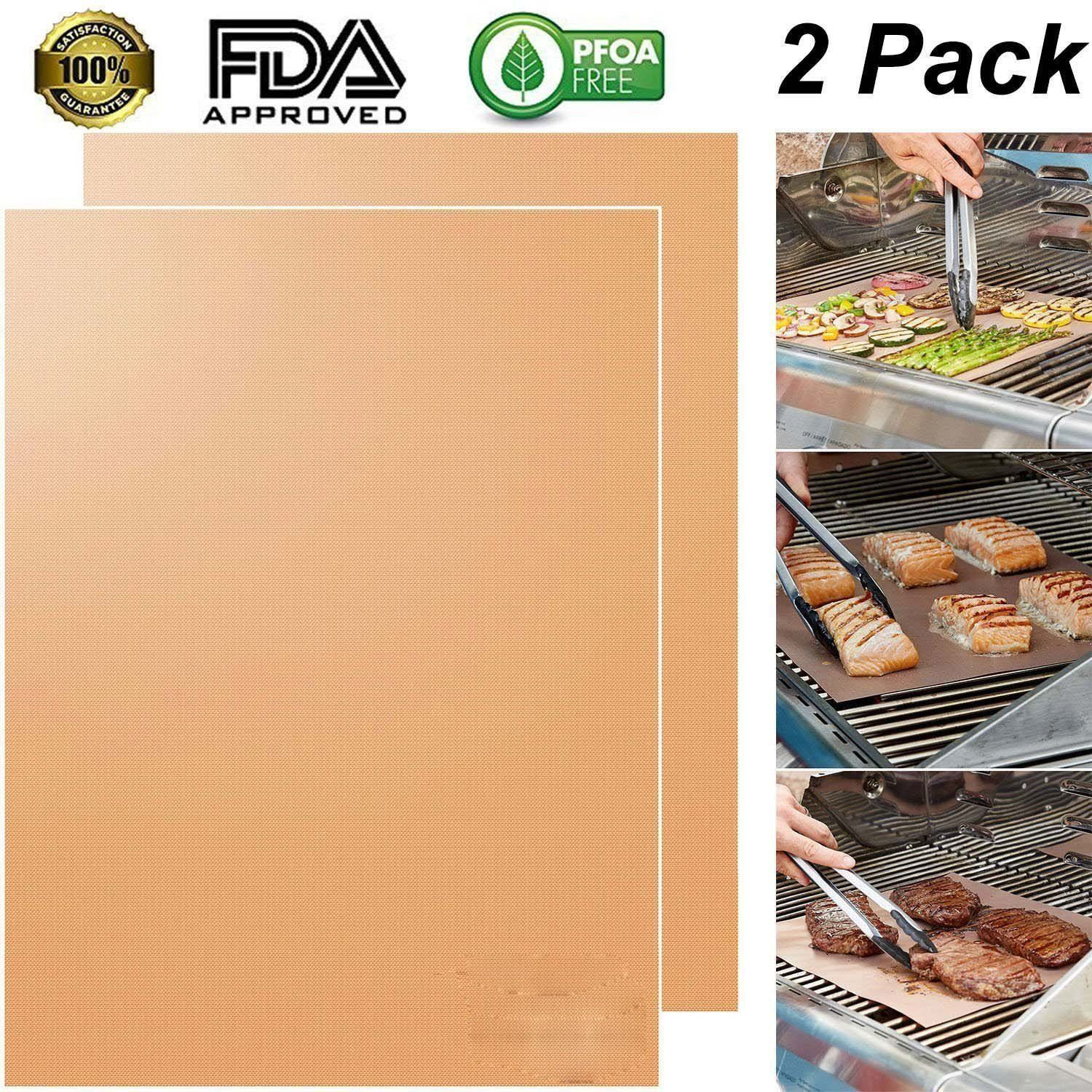 2 Pcs Nonstick Kitchen Copper Chef Grill and Bake Mats Outdoor BBQ Tools BBQ Grill Mat Barbecue Roast Sheet Pad Cooking Tools