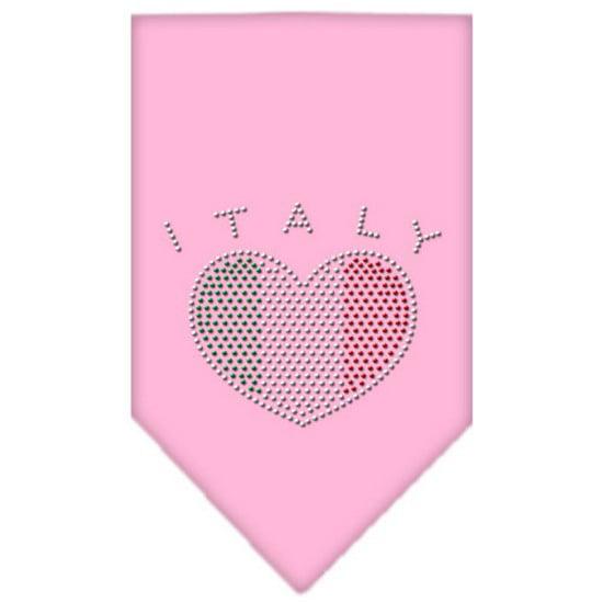 Italy  Rhinestone Bandana Light Pink Large