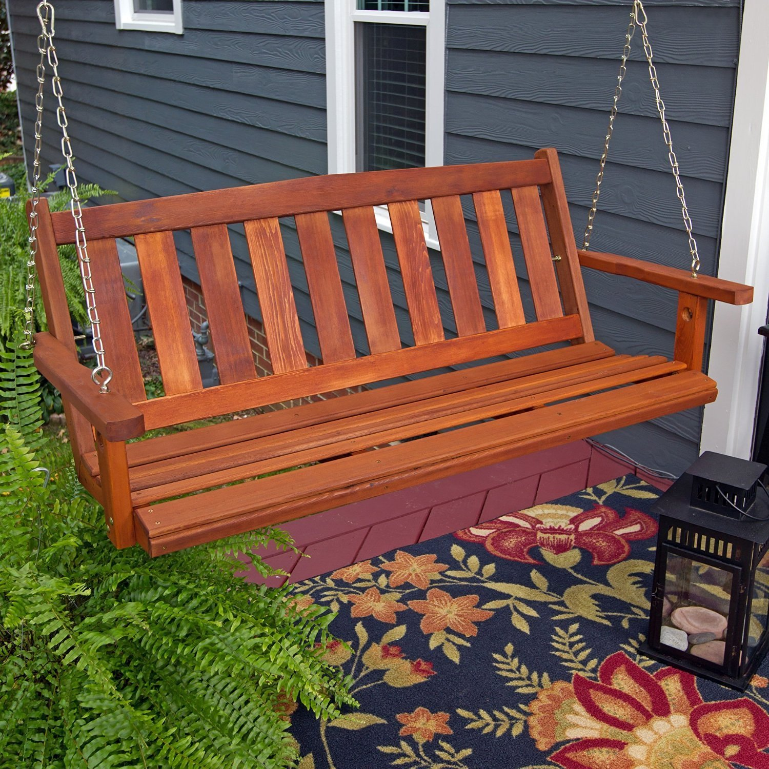 Porchgate Amish Made Mission 4ft. Red Cedar Porch Swing by