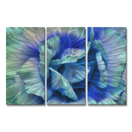 All My Walls 'Blue Rose' by Allyson Kitts 3 Piece Graphic Art Plaque Set