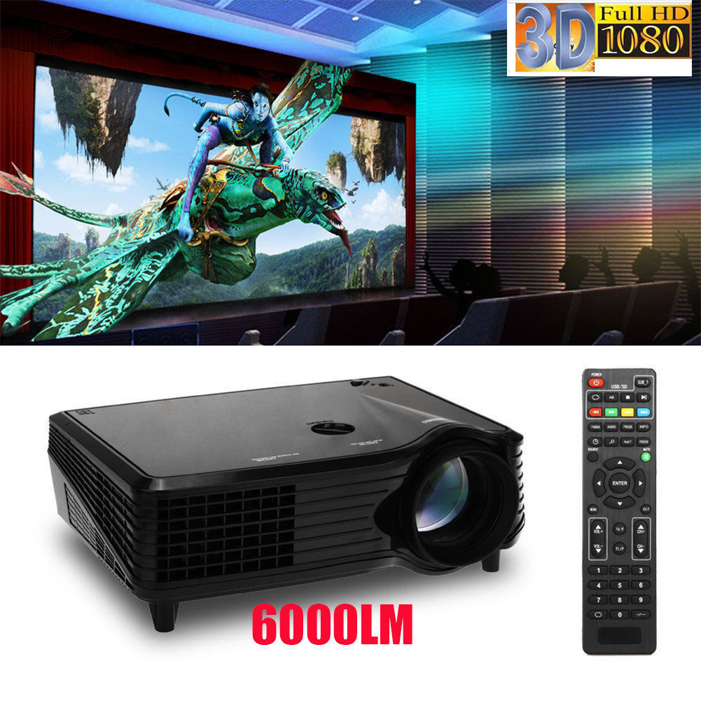 6000 LM Full HD LED LCD Projector Home Theater TV/HDMI 1080P 3D