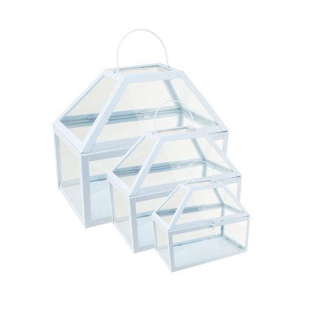 "Image of ""Set of 3 Light Powder Blue Metal and Glass Paneled Nesting Outdoor Greenhouse Terrariums 8.25""""-12"""""""