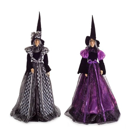 Set of 2 Whimsical Purple and Black Decorative Witch Halloween Figure 33