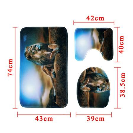 3Pcs Non-Slip Bathroom Toilet Seat Cover Bath Rugs Mat Pad Doormat + Shower Curtain Set Lion Home Decor Gift  - image 6 de 9