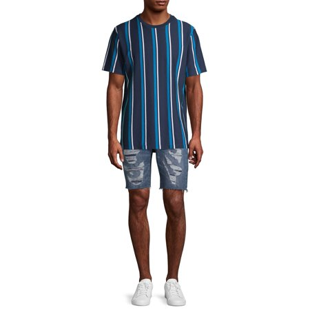 No Boundaries Men's and Big Men's Short Sleeve Stripe T-Shirt, Up To Size 3XL