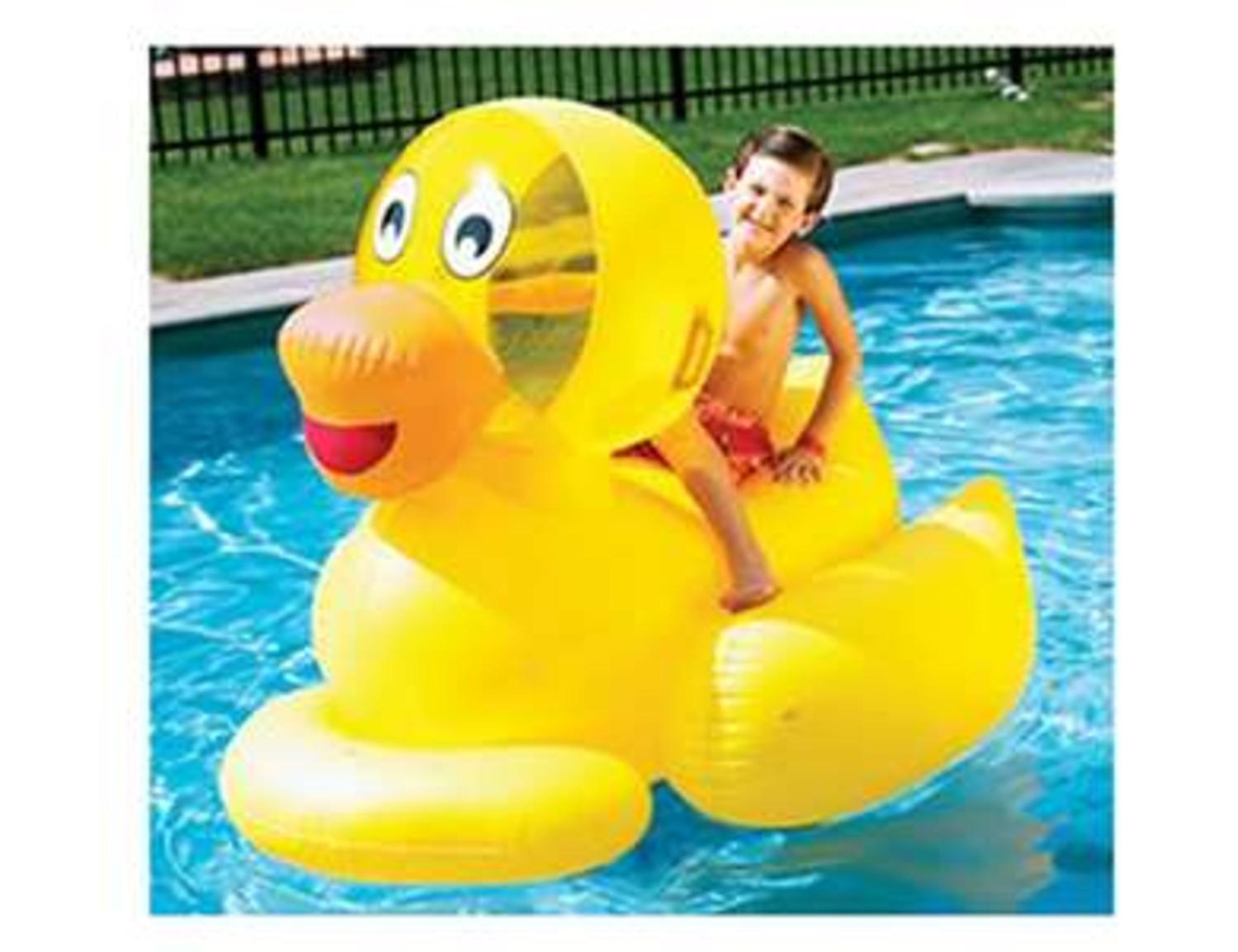 """60"""" Water Sports Inflatable Giant Ducky Swimming Pool Ride-On Float Toy by Swim Central"""