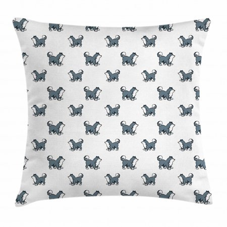 Dog Throw Pillow Cushion Cover, Husky Puppy Siberian Energetic Pet Alaskan Origin Sketch Style Cartoon Cold, Decorative Square Accent Pillow Case, 16 X 16 Inches, Blue Grey Black White, by