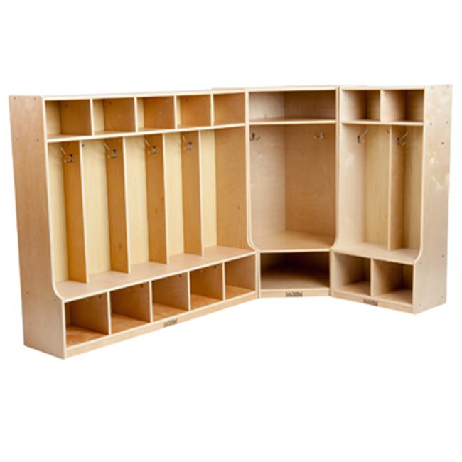 Early Childhood Resources ELR-SPC-22201 Birch Coat Lockers with Bench Set- 2, 5 and Corner Section