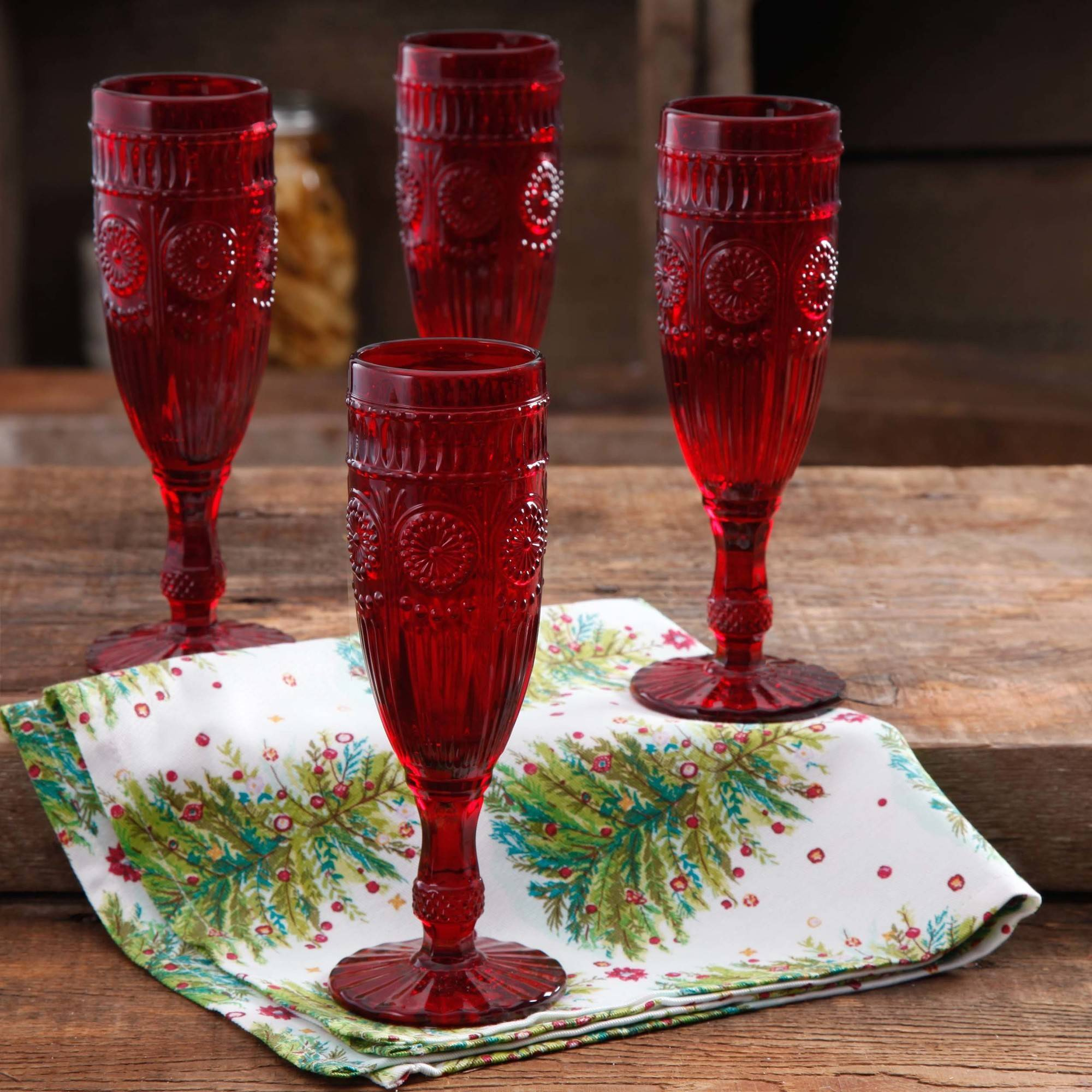 The Pioneer Woman Adeline 6 oz Flute, Red, Set of 4