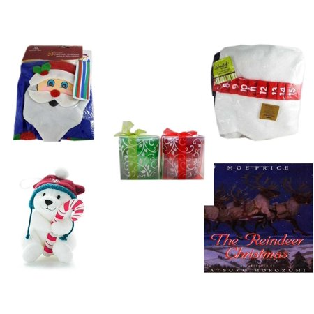 "Christmas Fun Gift Bundle [5 Piece] -  Time  Windsock Santa - Splendid! By Nygala 40"" Snowman Candy Cane Countdown -  Green & Red Tealight Holders Set - Snowby the Polar Bear Ornament and Candy Cane"