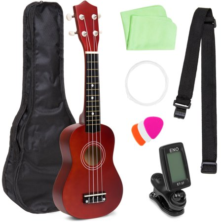 Best Choice Products Basswood Ukulele Musical Instrument Starter Kit w/ Waterproof Nylon Carrying Case, Strap, Picks, Cloth, Clip-On Tuner, Extra String -