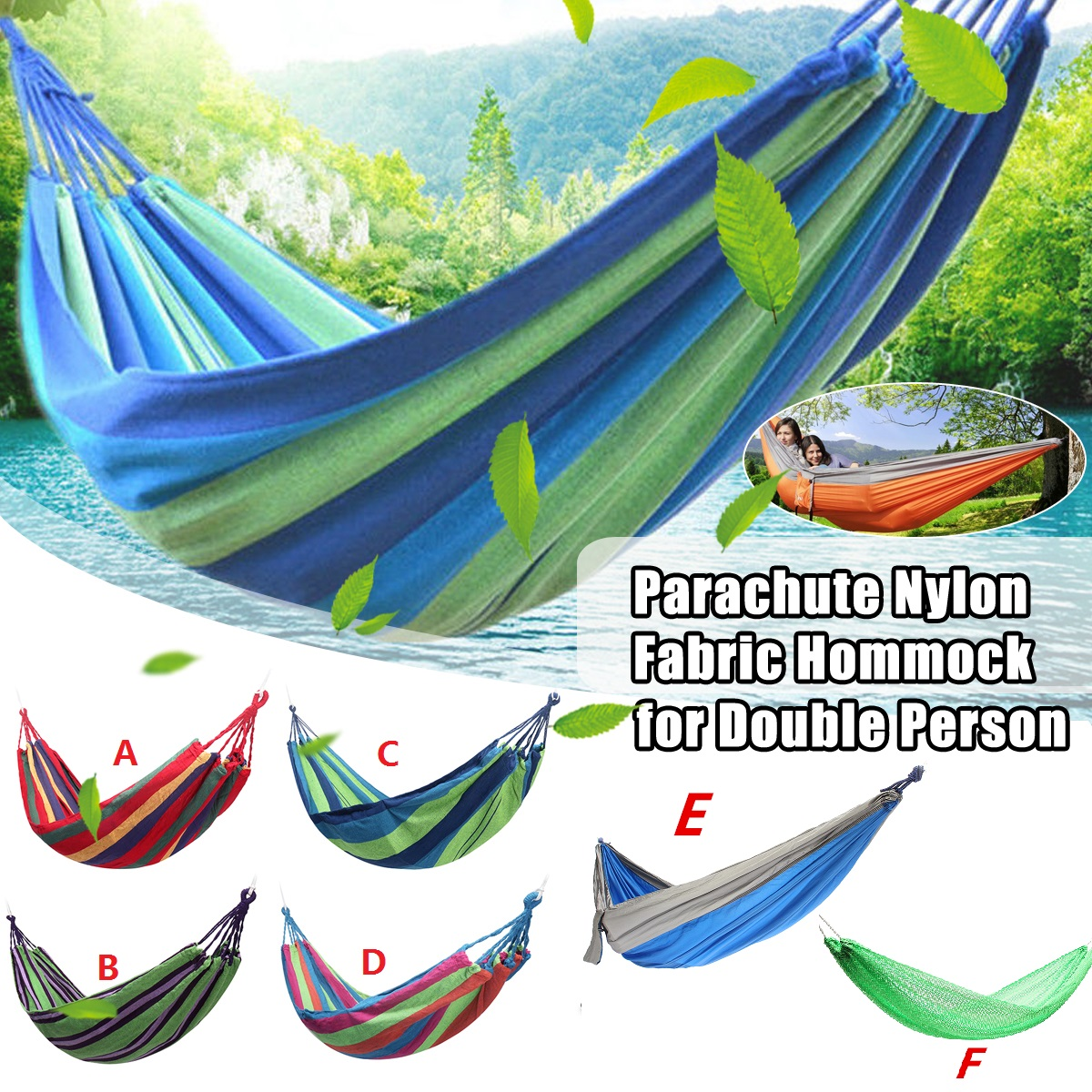 Portable Travel Double Camping Parachute Hammock Fabric Swing Strong Rope Bag