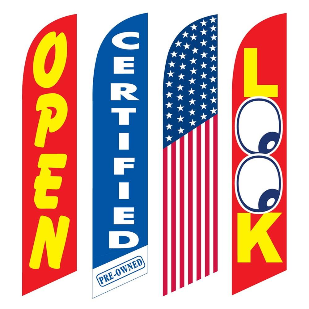 4 Advertising Swooper Flags Open Certified Pre Owned America Look