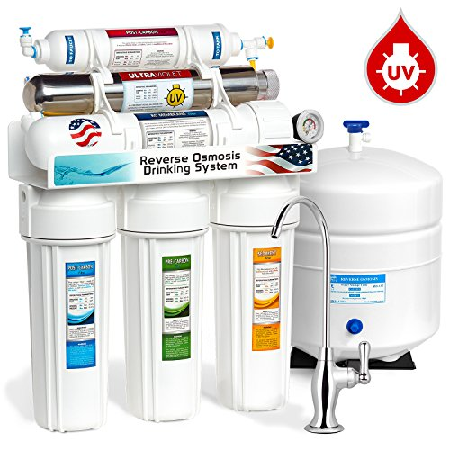 Express Water 6 Stage UV Ultraviolet Reverse Osmosis Water Filtration System 100 GPD RO Membrane Filter Pressure Gauge Residential Under Sink Home Purifier UV Light Sterilizer ROUV10DG