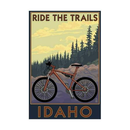 Idaho - Mountain Bike Scene Print Wall Art By Lantern Press
